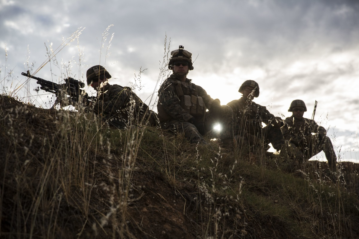 Marines with Special Purpose Marine Air-Ground Task Force-Crisis Response-Africa 19.2, Marine Forces Europe and Africa, prepare to fire their M240B machine guns during a squad attack on Campo De Maniobras, Base General Menacho, Spain, June 18, 2019. (Cpl. Margaret Gale/Marine Corps)