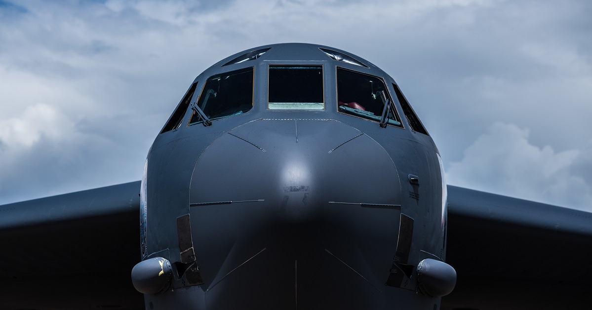 An Air Force B-52 Stratofortress, deployed from Barksdale Air Force Base in Louisiana, sits on the flightline at Royal Air Force Base Darwin, Australia, March 29, 2018, after arriving from Guam. Two aircraft electricians on the deployment to Guam were involved in a fatal altercation in their room. (Staff Sgt. Alexander W. Riedel/Air Force)