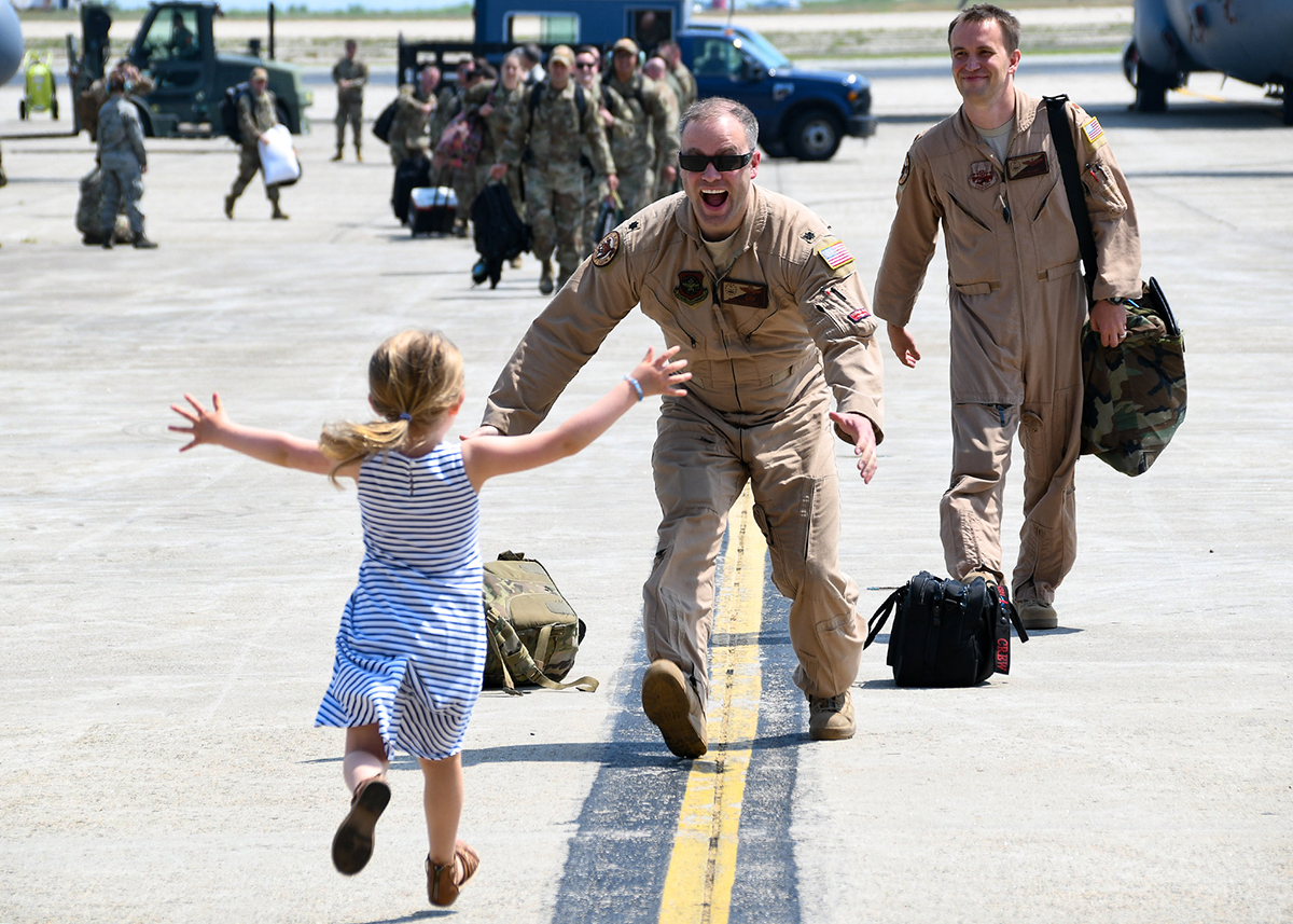 The 143d Airlift Wing welcomed home more than 100 airmen from their recent deployment in support of Operation Freedom's Sentinel on July 4, 2019, at Quonset Air National Guard Base, North Kingstown, R.I. (Staff Sgt. Deirdre Salvas/Air National Guard)