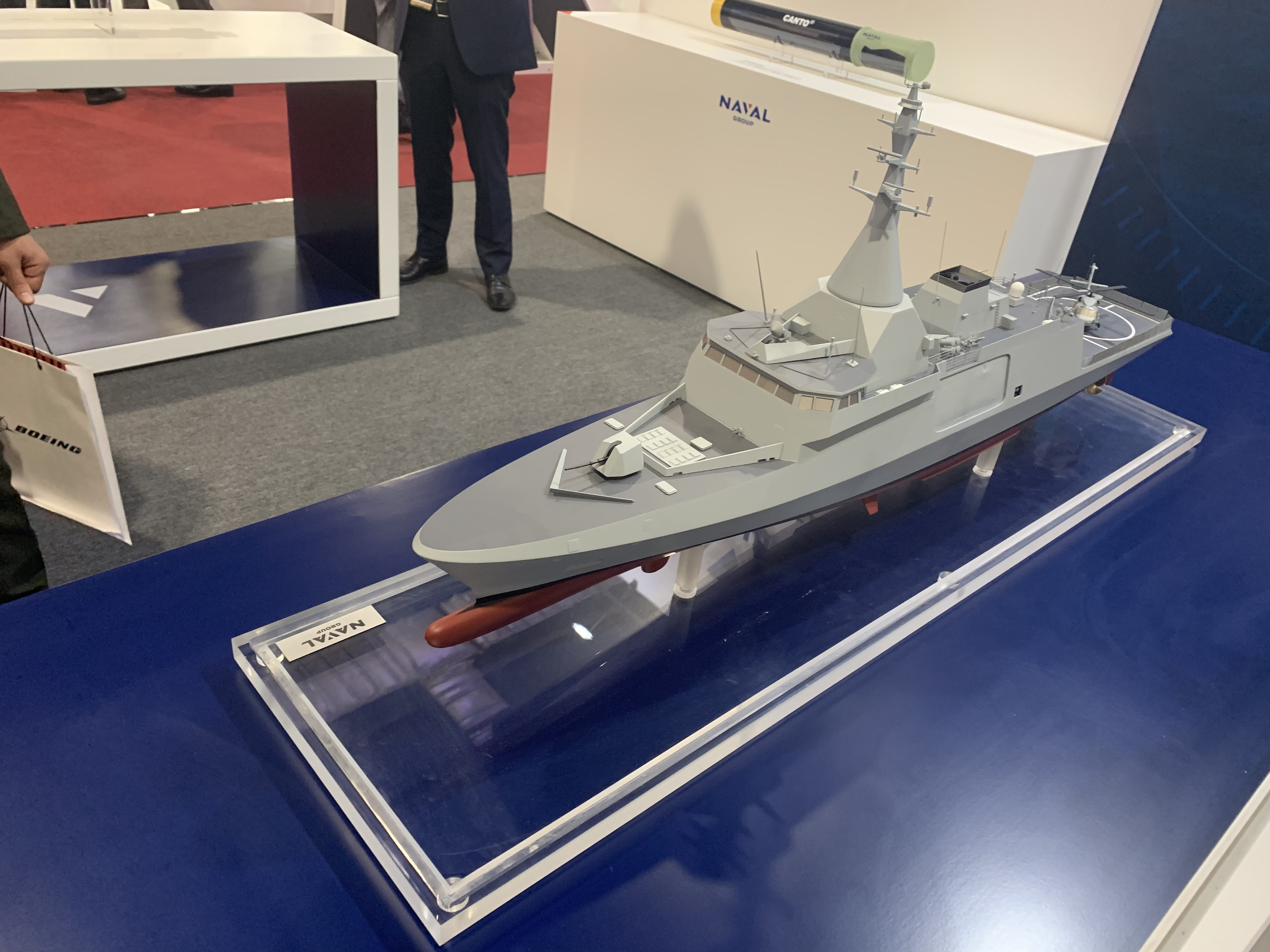 French firm Naval Group presented its goods at the first ever Defense and Security Exhibition in Egypt. (Chirine Mouchantaf/Staff)