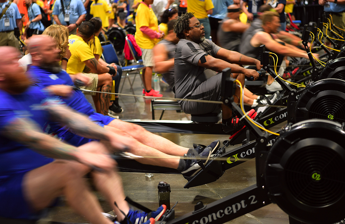 Team SOCOM Army Master Sgt. Henry Taylor competes in indoor rowing during the 2019 DoD Warrior Games hosted in Tampa, Fla., June 25, 2019. (Master Sgt. Barry Loo/Air Force)
