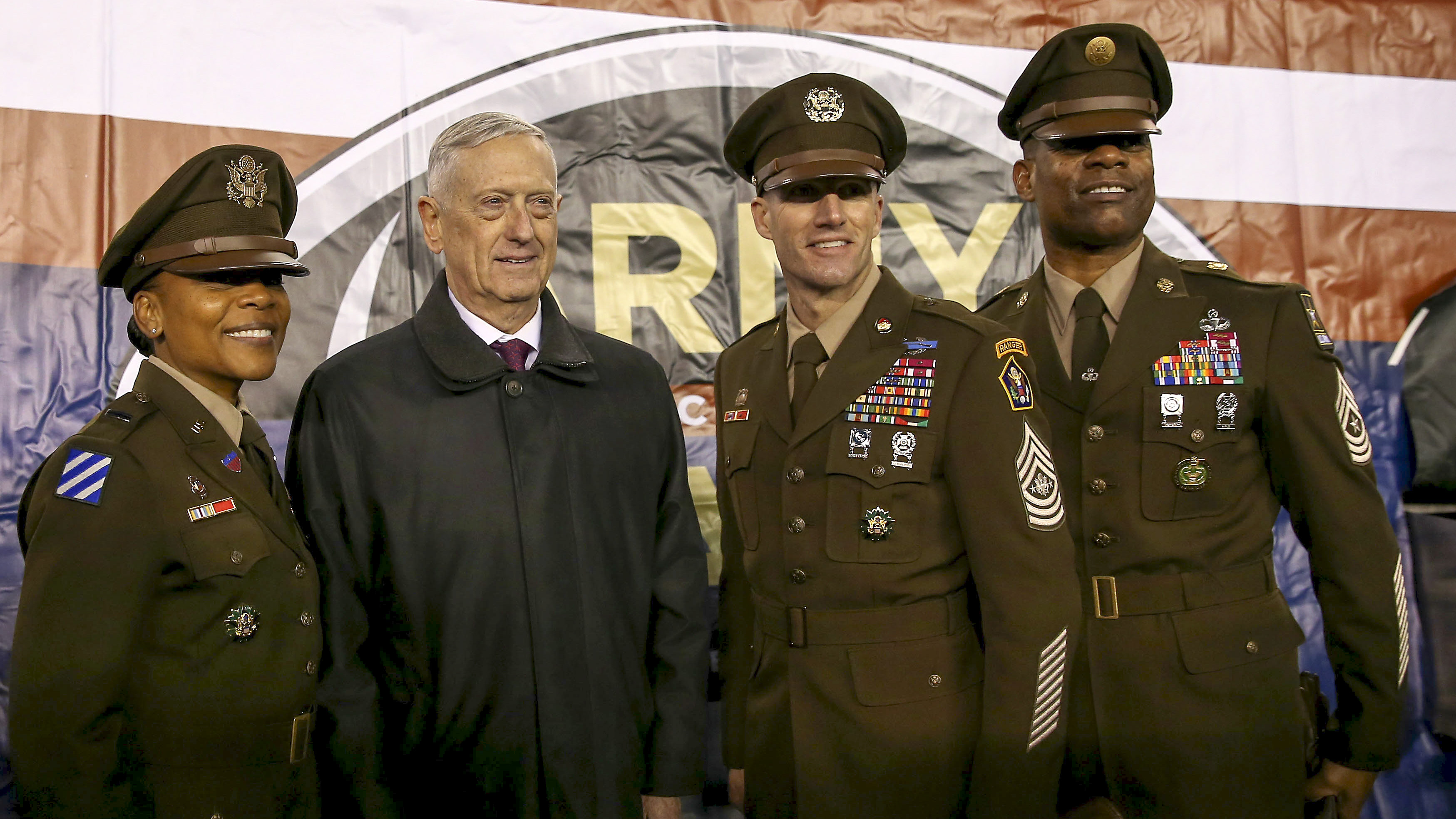 James N. Mattis. Secretary of Defense, poses for a picture during the game between the Army Black Knights and the Navy Midshipmen at Lincoln Financial Field on December 08, 2018 in Philadelphia, Pennsylvania.The Army Black Knights defeated the Navy Midshipmen 17-10. (Photo by Elsa/Getty Images)