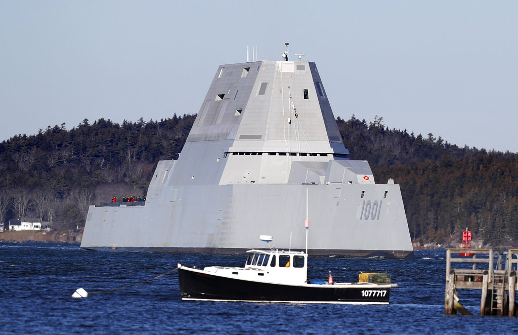 The destroyer Michael Monsoor passes Fort Popham travels down Maine's Kennebec River as it heads out to sea for trials in December. (Robert F. Bukaty/AP)