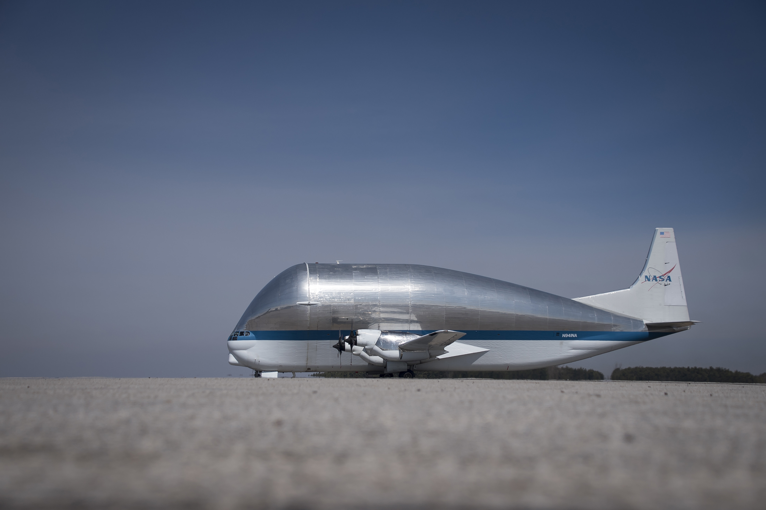 NASA's Super Guppy arrives at the 179th Airlift Wing in Mansfield, Ohio, March 22, 2020. The 179th AW is assisting the Super Guppy in transporting parts of the Orion Space Project that recently completed testing at the Glenn Research Center in Sandusky, Ohio. (Tech. Sgt. Joe Harwood/Air National Guard)