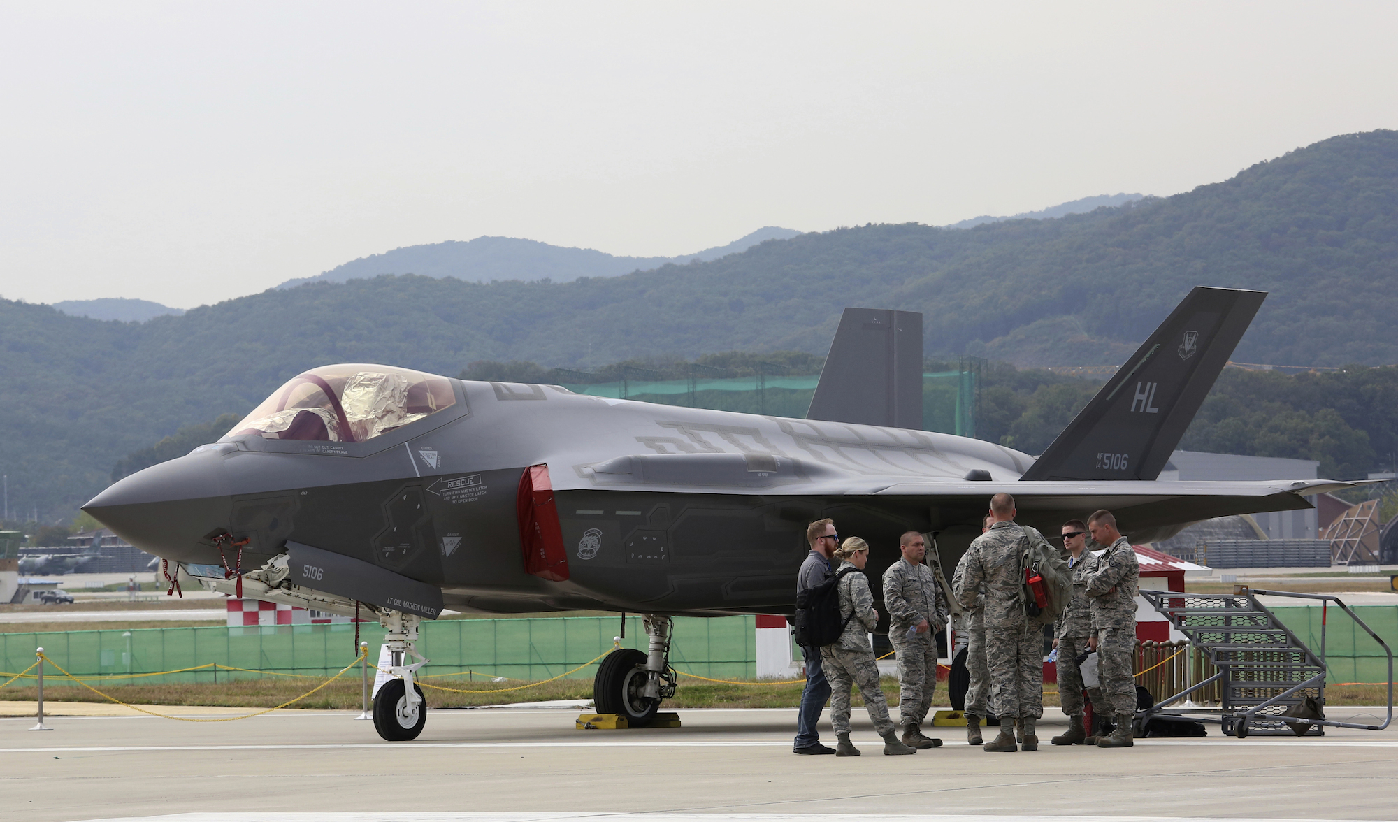 A U.S. F-35 stealth fighter is seen during the press day of the 2017 Seoul International Aerospace and Defense Exhibition at Seoul Airport in Seongnam, South Korea, Monday, Oct. 16. South Korean and U.S. troops launched five days of naval drills on Monday, three days after North Korea renewed its threat to fire missiles near the American territory of Guam. (AP Photo/Ahn Young-joon)