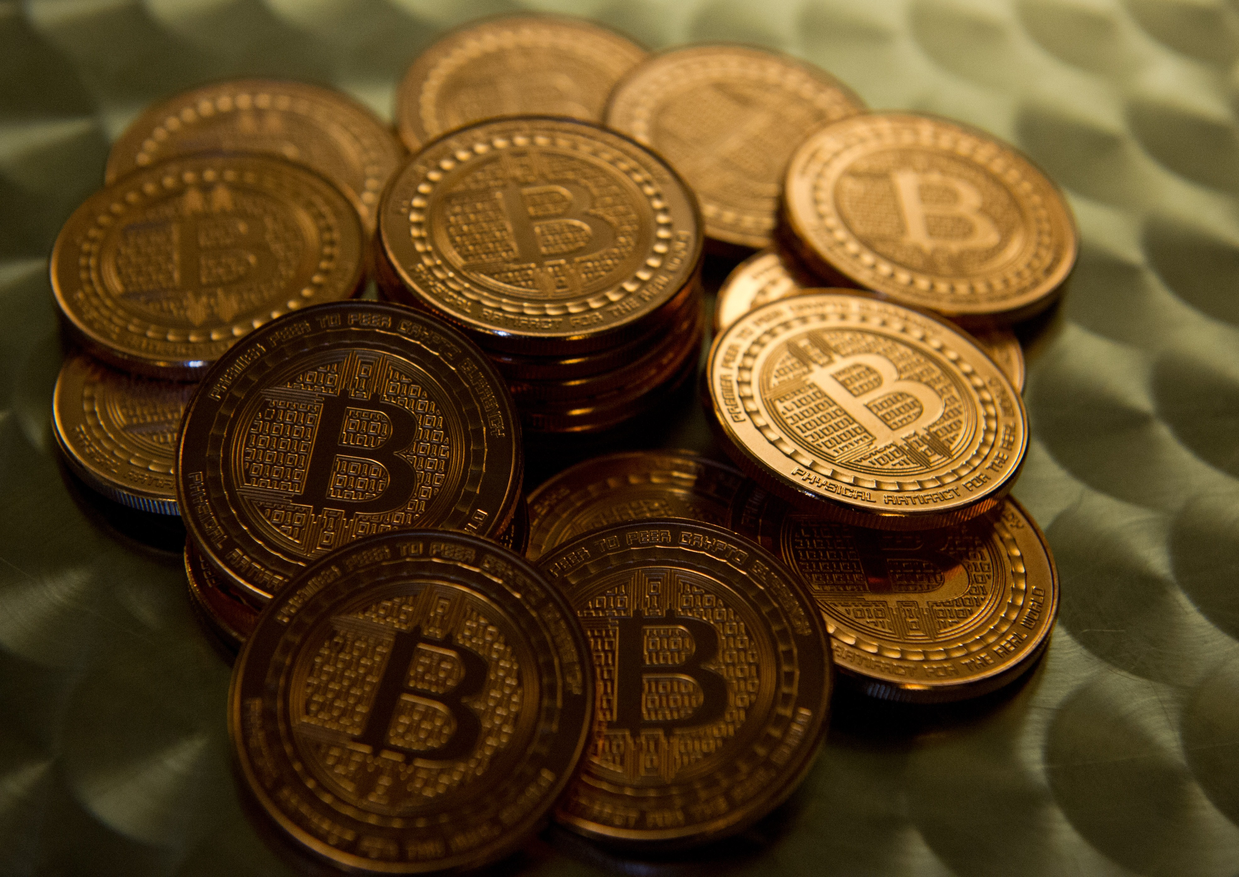 This May 1, 2014 photo taken in Washington, DC shows bitcoin medals. (KAREN BLEIER/AFP/Getty Images)