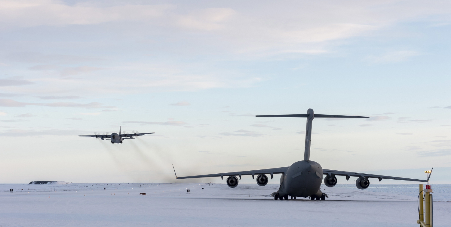 A C-130 flown by airmen from the New York Air National Guard's 109th Airlift Wing takes off from Canadian Forces Station Alert on Ellsmere Island, Nunavut, Canada, after dropping off supplies on Sept. 30, 2019. (Leading Seaman Paul Green/Canadian Forces)