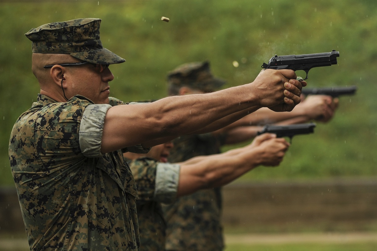 Marines will soon get the Army's Modular Handgun System, a 9mm Sig Sauer, to replace its M9 Beretta pistols. (Senior Airman Harry Brexel/Air Force)