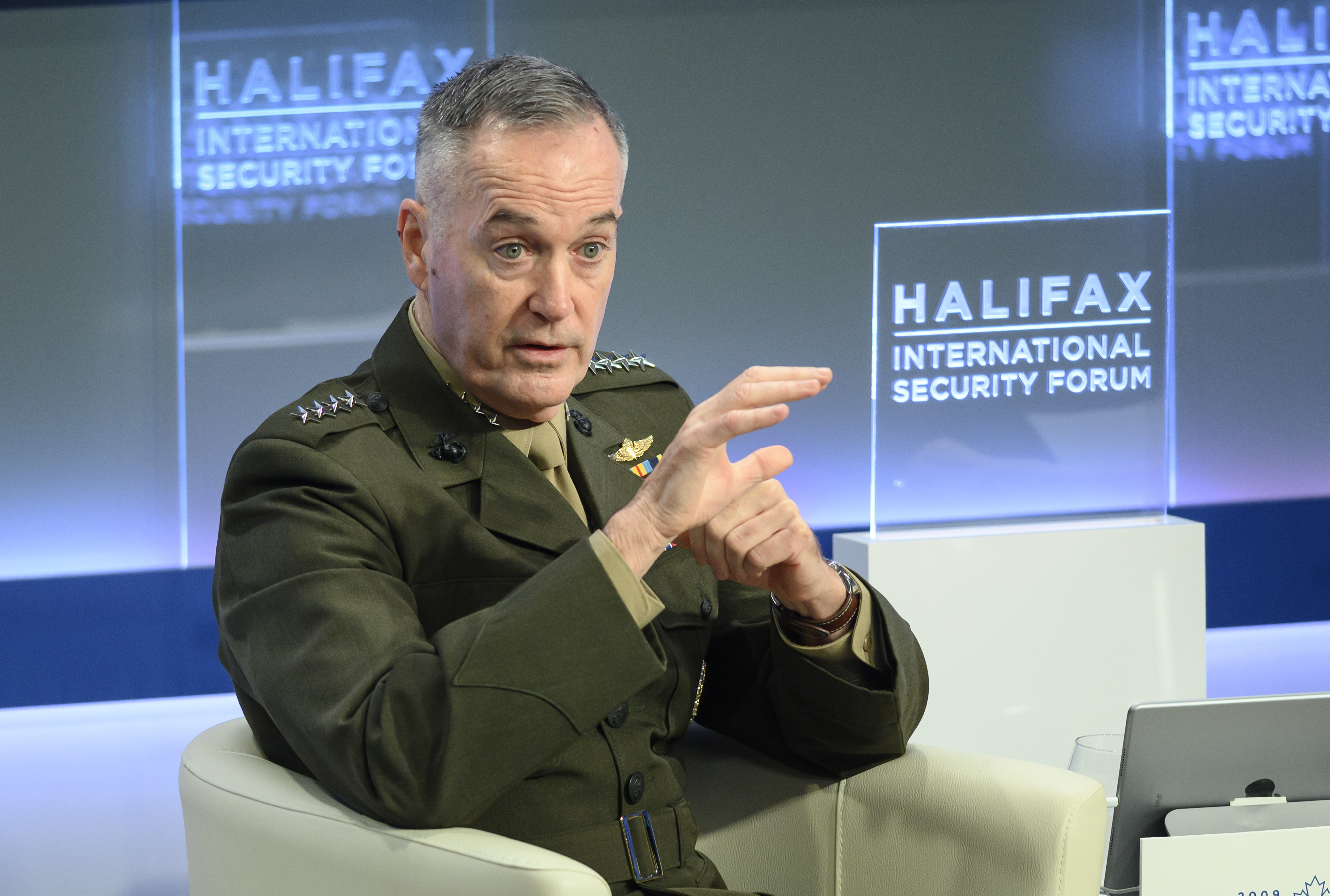 U.S. Chairman of the Joint Chiefs of Staff Joseph Dunford speaks at the Halifax International Security Forum in Halifax on Saturday, Nov. 17, 2018. Dunford says it's problematic that American tech companies don't want to work with the Pentagon but are willing to engage with the Chinese market. (Darren Calabrese /The Canadian Press via AP)