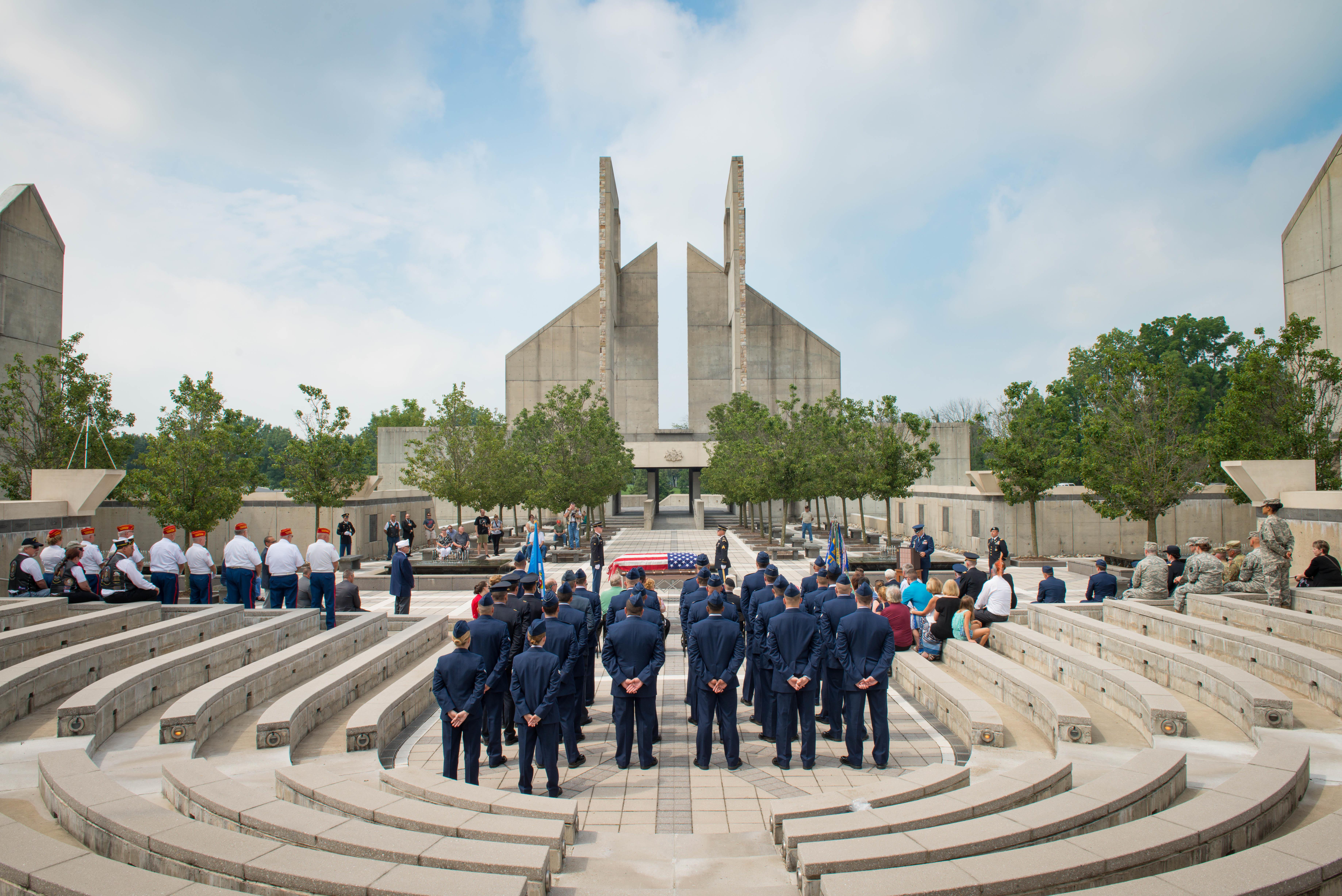 Airmen assigned to the 62nd Fighter Squadron stand in formation during the funeral service for 2nd Lt. Charles E. Carlson at the Indiantown Gap National Cemetery in Annville, Penn., Aug. 4, 2017. Approximately 50 Airmen traveled more than 2,000 miles to attend Carlson's funeral, who died during World War II after being shot down. (Staff Sgt. Jensen Stidham/Air Force)