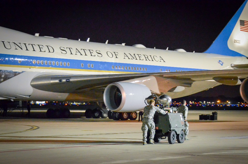 Air Force One's roles run the gamut from ceremonial presence to crisis management, and the plane can better serve those roles with a reliable data connection provided by satellites. (Jenna Lenski/Air National Guard)