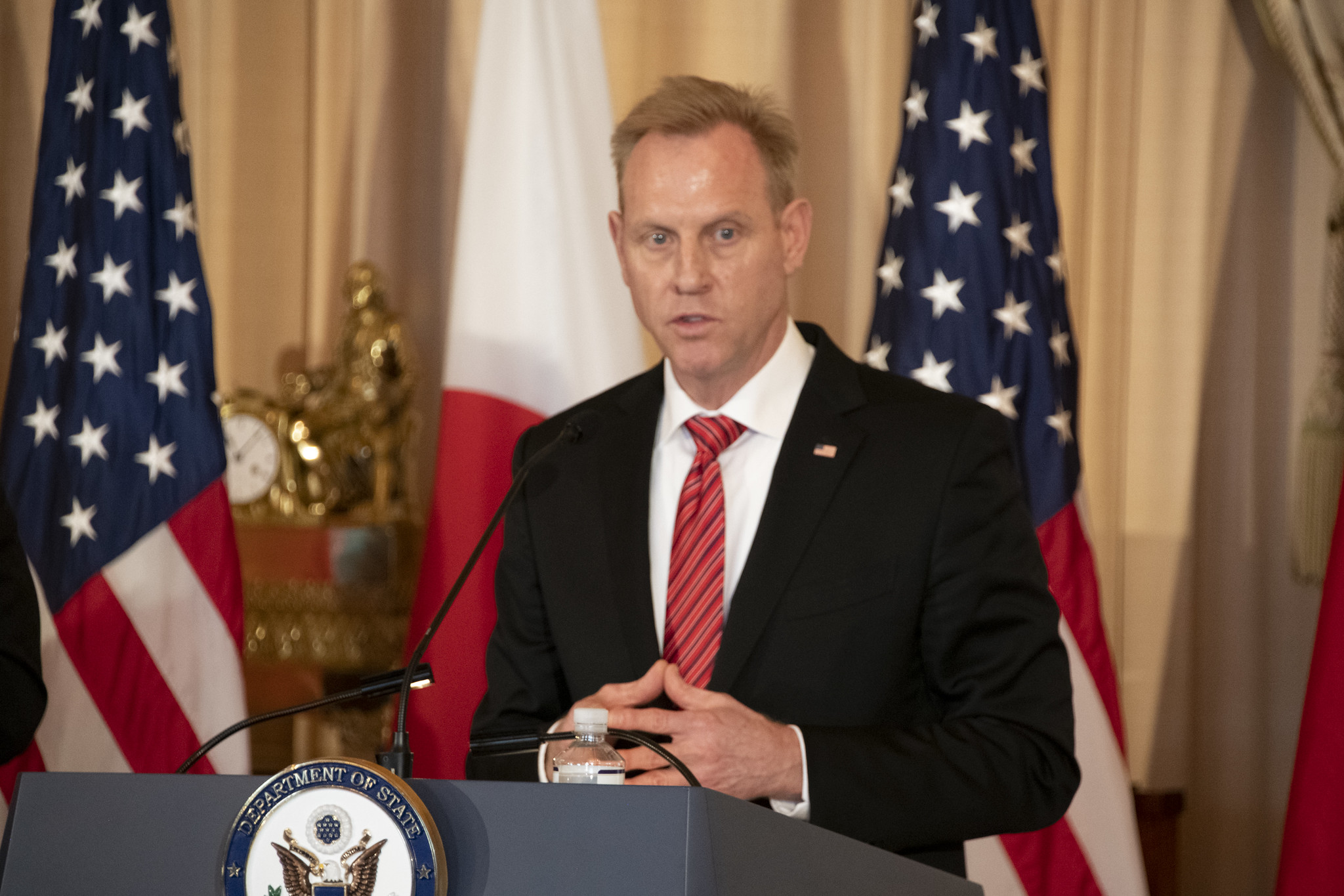 """Acting Secretary of Defense Patrick Shanahan participates in a joint press availability following the Security Consultative Committee (""""2+2"""") meeting at the U.S. Department of State in Washington on April 19, 2019. (Ron Przysucha/State Department)"""