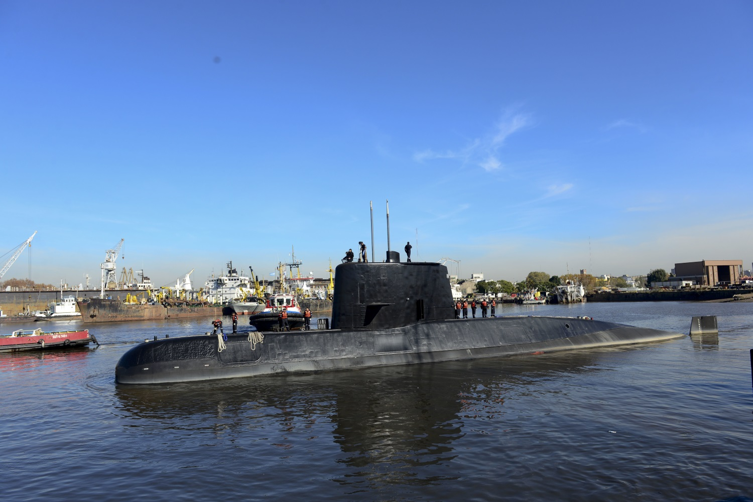 This 2014 photo provided by the Argentina Navy shows the ARA San Juan, a German-built diesel-electric vessel, docked in Buenos Aires, Argentina. Argentina's Navy said Friday, Nov. 17, 2017, it has lost contact with its ARA San Juan submarine off the country's southern coast. (Argentina Navy via AP)