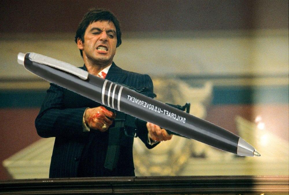 Even Al Pacino loves the U.S. government pen. (Design by J.D. Simkins)