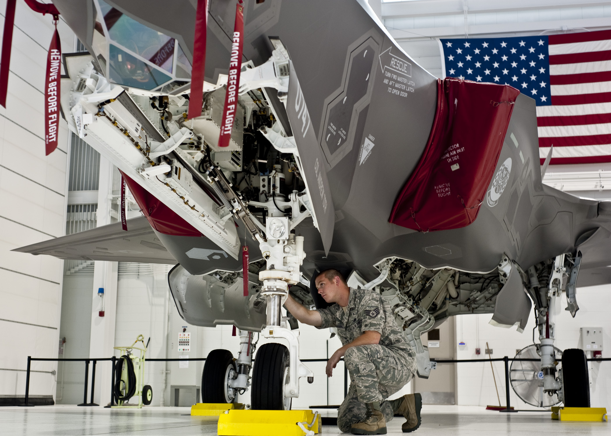 U.S. Air Force Staff Sgt. Michael Sanders, of the 58th Aircraft Maintenance Squadron checks out the first F-35 Lightning II joint strike fighter at Eglin Air Force Base, Fla. (Chrissy Cuttita/U.S. Air Force)