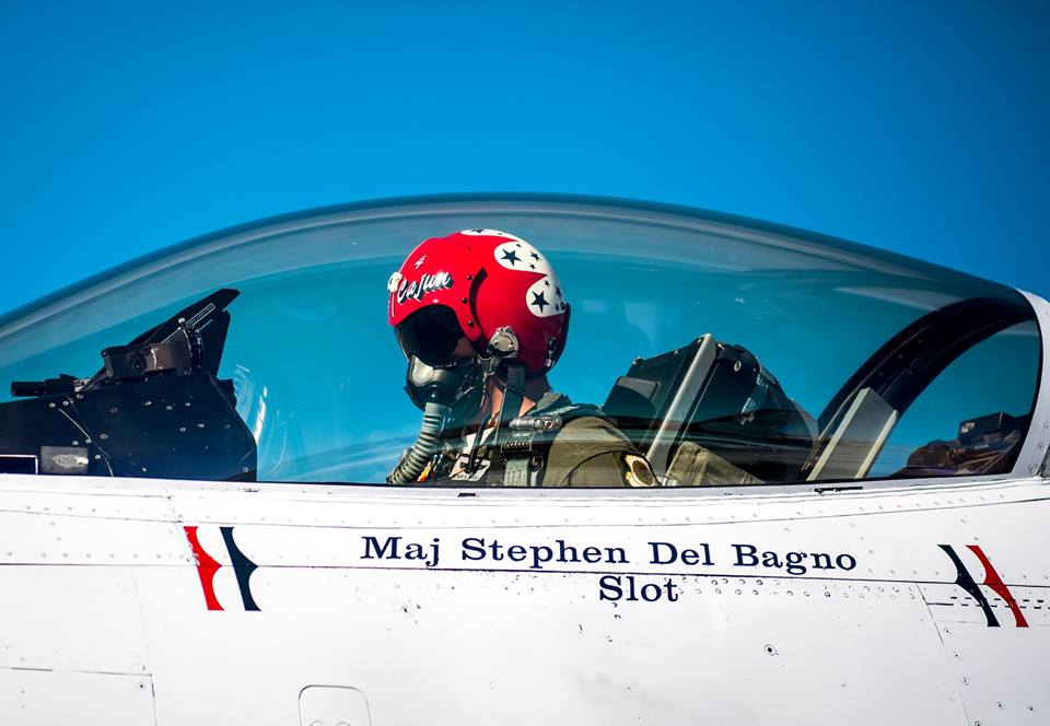 Maj. Stephen Del Bagno, Thunderbird 4/Slot Pilot, preforms preflight checks in his F-16 Fighting Falcon at Nellis Air Force Base, Nev., Jan. 26, 2018. Del Bagno was killed when his aircraft crashed on the Nevada Test and Training Range during a practice aerial demonstration on April 4, 2018. (Master Sgt. Christopher Boitz/Air Force)