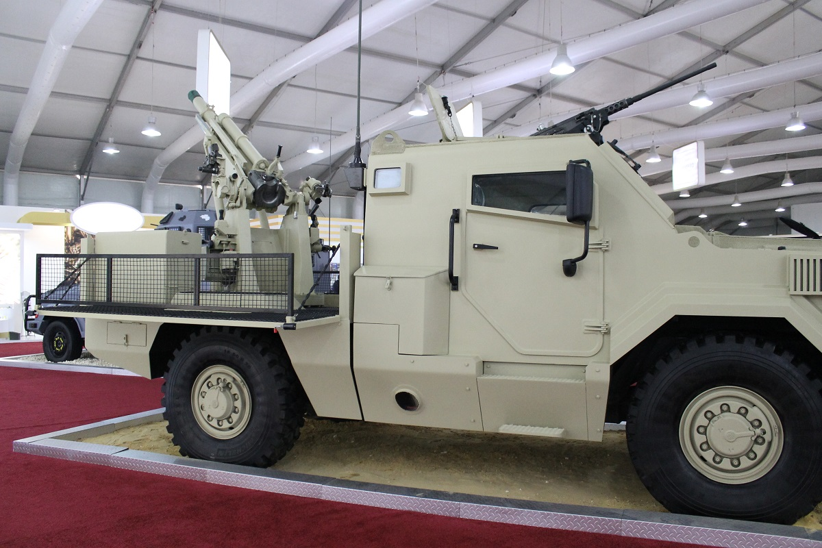 Jordan showcased an Al-Wahsh four-wheel drive vehicle with a self-propelled 105mm M102 gun on the back. Several of Jordan's internally developed vehicles on the showroom floor showed an effort to increase mobile firepower. (Jen Judson/Staff)