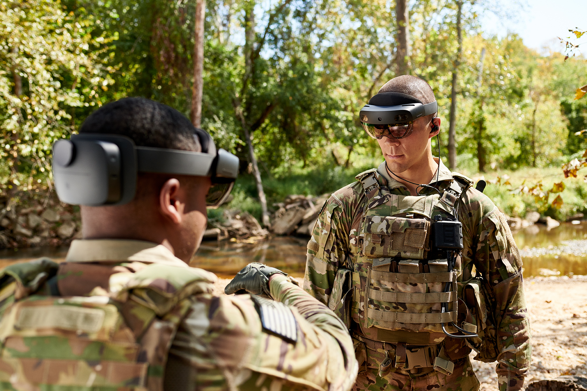 Soldiers test the Integrated Visual Augmentation System, an advanced goggle that would put mixed reality with navigation, target identification and other capabilities into troops' view. (Army)