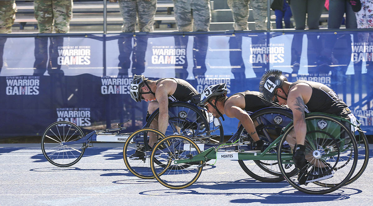 Team Army competitors race during a track event, Colorado Springs, Colorado, June 2, 2018. (Staff Sgt. Kalie Frantz/Army)