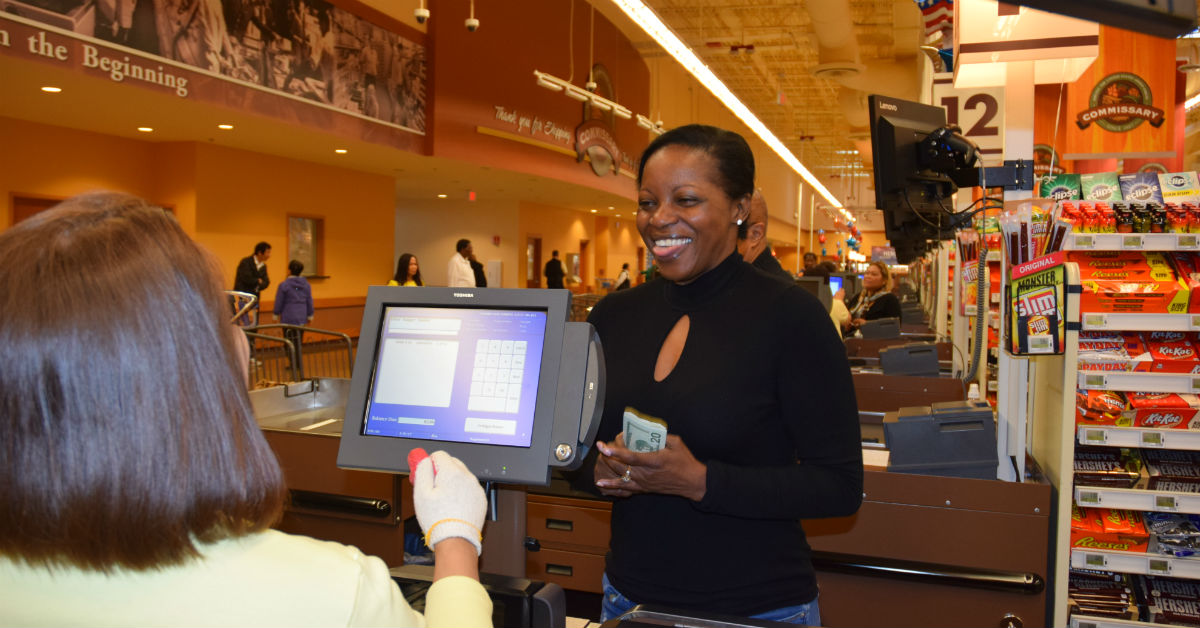 Commissary savings have slightly declined, but a recently released price comparison indicates they are 'reasonably consistent with the 2016 baseline, officials said. Here, customer Carolyn Vergott checks out at the Fort Belvoir, Va., commissary. (Jessica Rouse/DeCA)