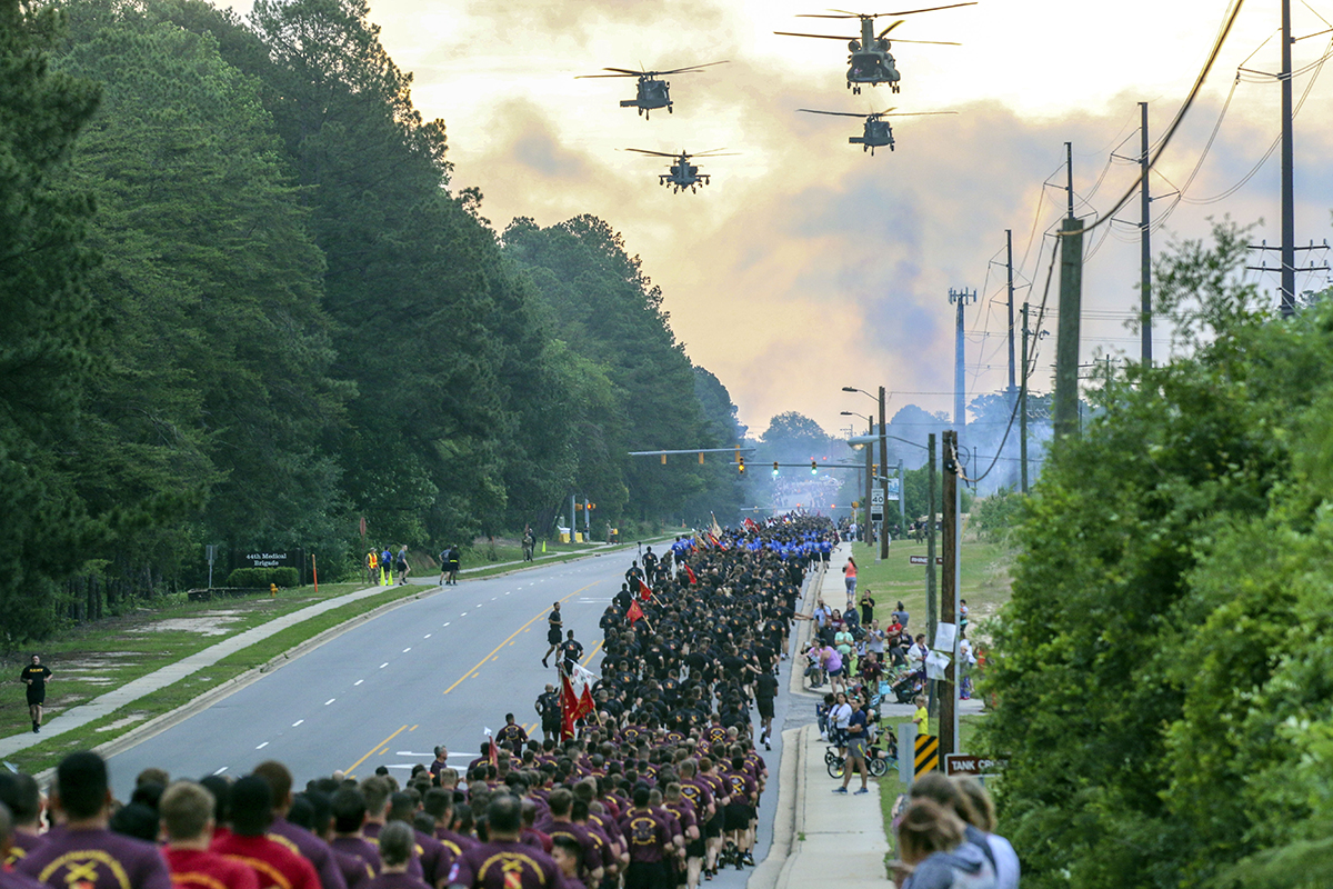 Approximately 18,000 Army paratroopers assigned to the 82nd Airborne Division participate in the Division Run during All American Week 2018 on Fort Bragg, North Carolina. (Pfc. Alleea Oliver/Army)