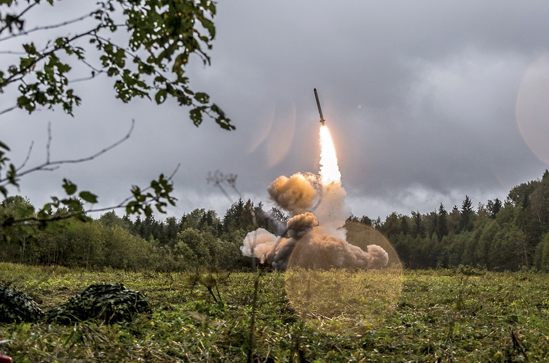 A Russian Iskander-K missile is launched during a military exercise at a training ground at the Luzhsky Range, near St. Petersburg, Russia, on Sept. 18, 2017. (Russian Defence Ministry Press Service/AP)