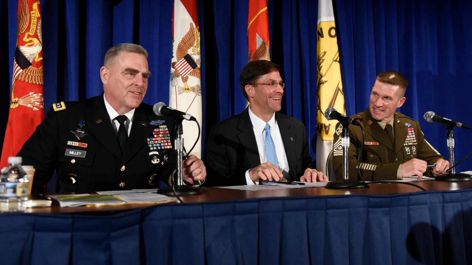 Army Chief of Staff Gen. Mark Milley, left, with Army Secretary Mark Esper, Sgt. Major of the Army Dan Dailey, during a town hall with military families during the 2018 AUSA annual meeting and exposition in Washington, DC. (Stephen Barrett/Special to Defense News & Army Times)