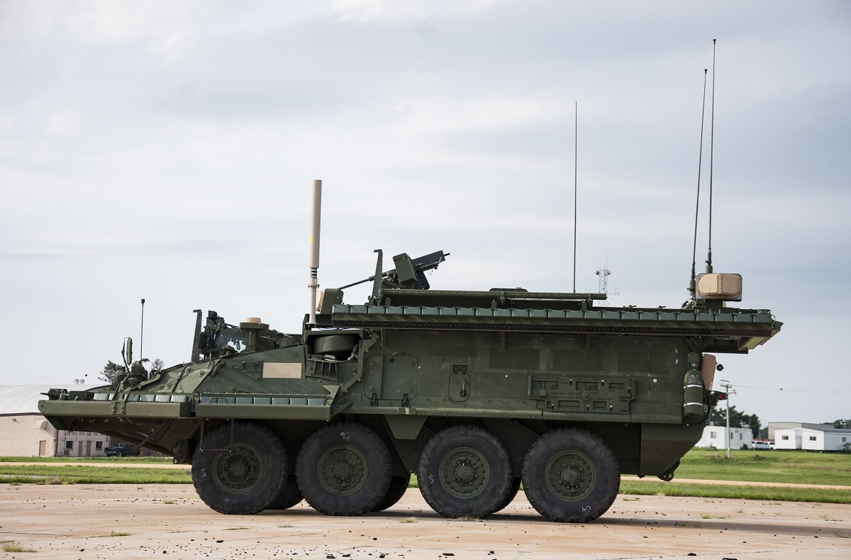 Artis LLC's Iron Curtain active protection system is undergoing government characterization efforts on a Stryker combat vehicle. (U.S. Army)