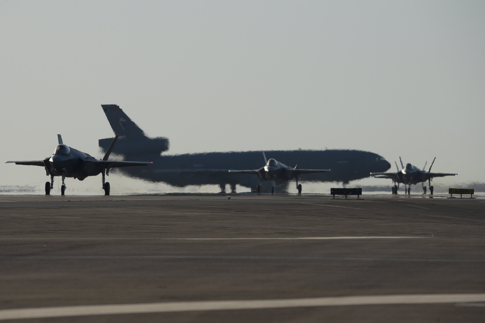 Four F-35A Lightning IIs assigned to the 4th Expeditionary Fighter Squadron taxi after landing at Al Dhafra Air Base, United Arab Emirates, April 15, 2019. The F-35A Lightning II is deployed to the U.S. Air Forces Central Command area of responsibility for the first time in U.S. Air Force history. (Staff Sgt. Chris Thornbury/Air Fprce)