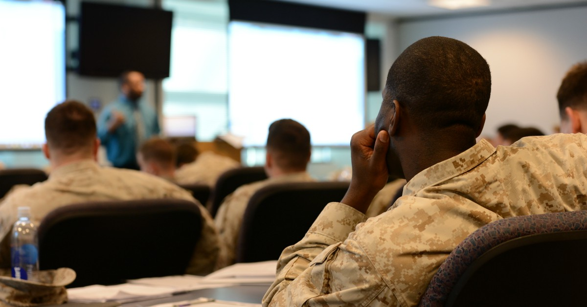 Marines undergo Transition Assistance Program training at Quantico. Lawmakers on Capitol Hill want to boost participation in TAP's additional offerings by making training in education, technical skills or entrepreneurship mandatory. (Photo by Lance Cpl. Antwaun L. Jefferson/Marine Corps)