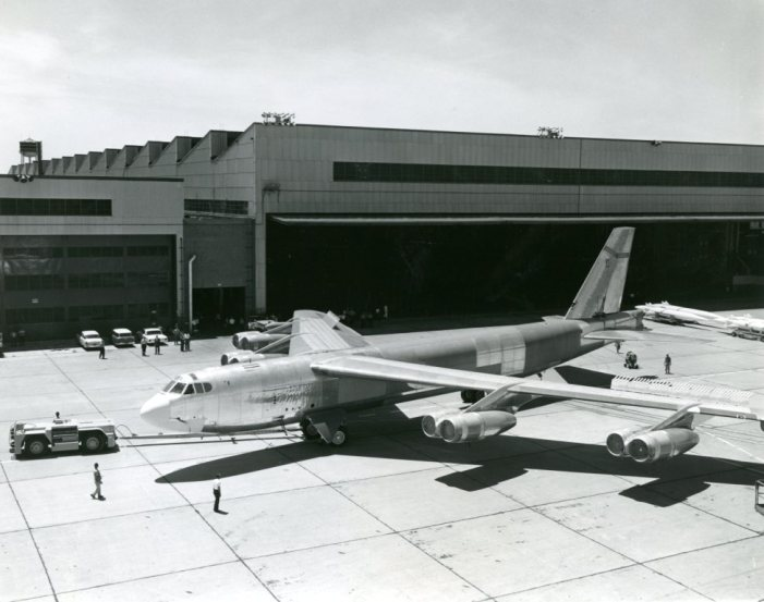 On Oct. 26, 2012, Boeing marked 50 years since the company delivered its last B-52 Stratofortress to the U.S. Air Force from its Wichita facility. H-model bomber 61-040 was assigned to Minot Air Force Base, N.D., and remains in active service. In this photo, aircraft 61-040 is shown outside the Boeing assembly line in Wichita in 1962. (The Boeing Co.)