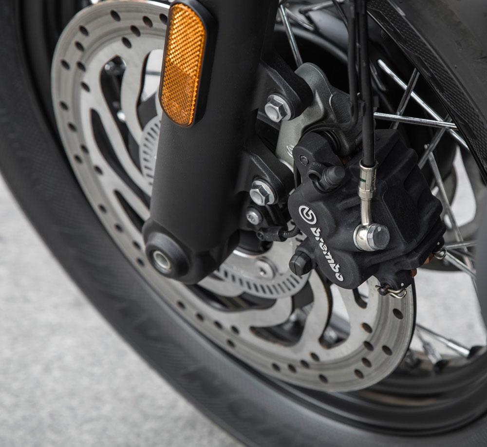 What's better than a single Brembo caliper? How about two! You won't find these doubled up on the previous version of the Bobber. Unfortunately, Triumph tells us this dual-brake setup can't be retrofitted to the older Bobber due to the complexity of the ABS system, so we'd suggest you consider starting out with the Bobber Black, or trading up from the old model if a single front brake is a deal breaker for you. (Triumph Motorcycles)