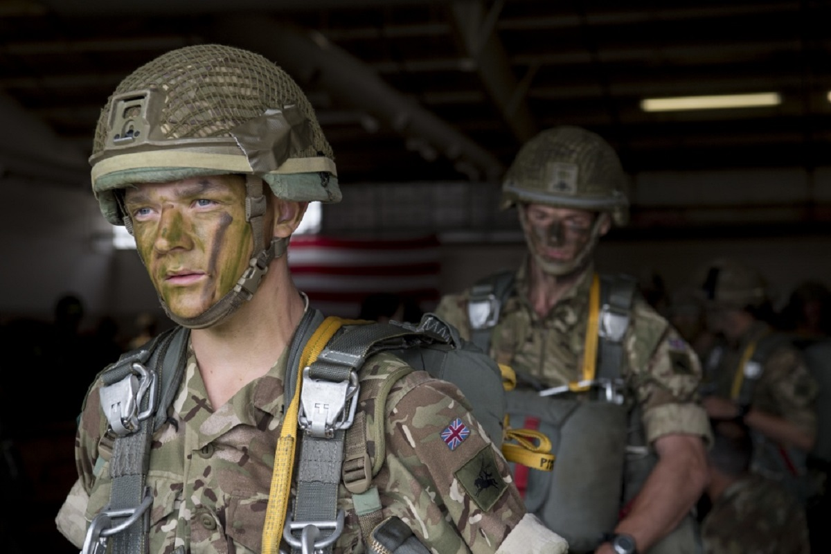British Army paratroopers prepare to jump from a C-17 Globemaster III, flown by U.S. Air Force personnel, as part of Swift Response 18. (U.S. Air Force)