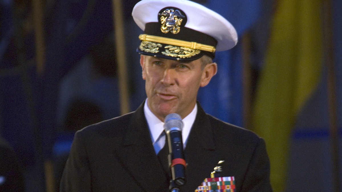 Then-Vice Adm. Joseph Maguire, the National Counterterrorism Center's deputy director for strategic operational planning, delivers his remarks during a Medal of Honor flag ceremony recognizing the actions of Navy SEAL Lt. Michael Murphy on Oct. 23, 2007, at the United States Navy Memorial. President Trump has nominated Maguire to lead the National Counterterrorism Center. (Petty Officer 1st Class Brien Aho/Navy)