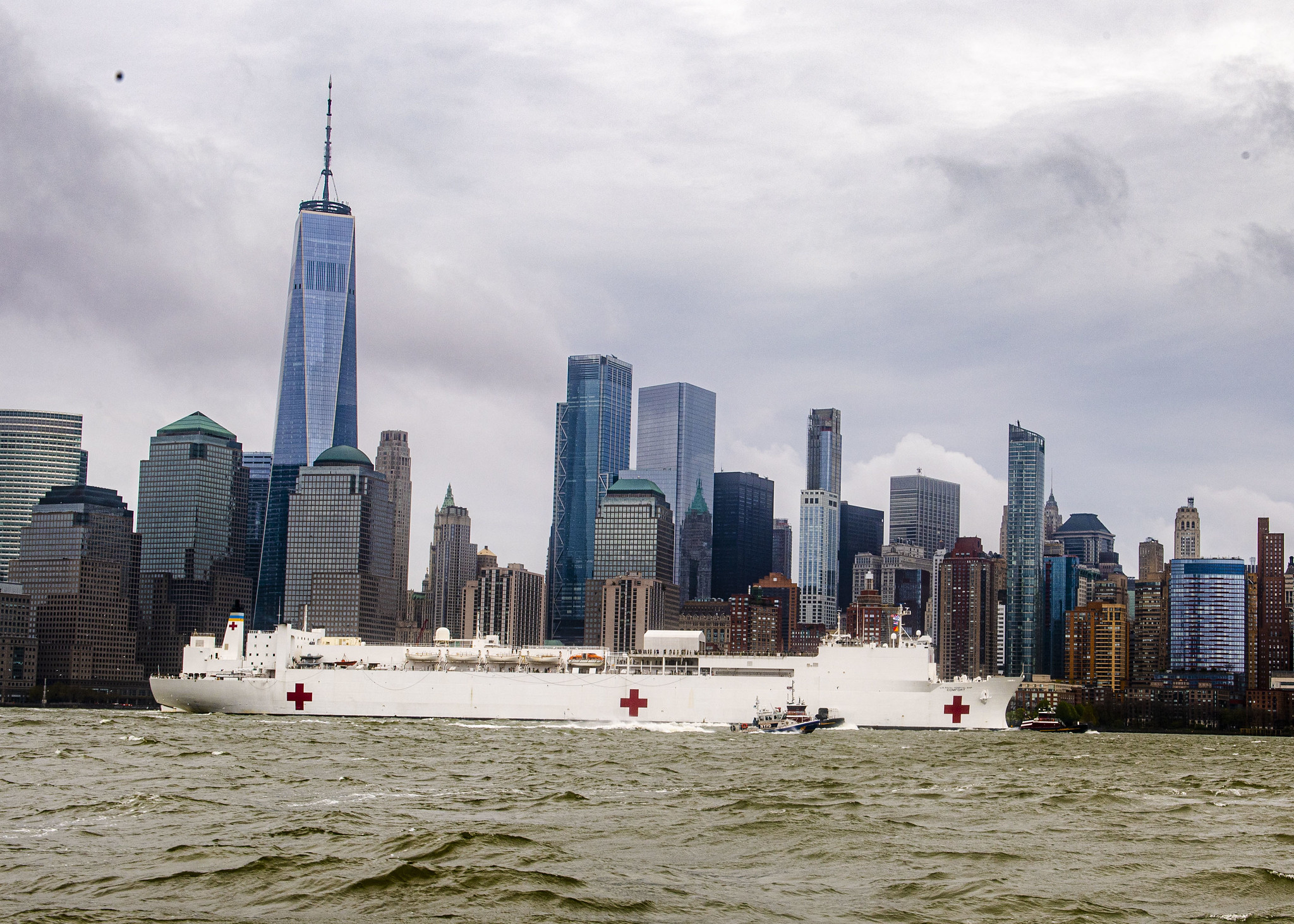 The hospital ship USNS Comfort (T-AH 20) departs New York Harbor on April 30, 2020, after treating patients in New York and New Jersey. (MC3 Brendan Fitzgerald/Navy)