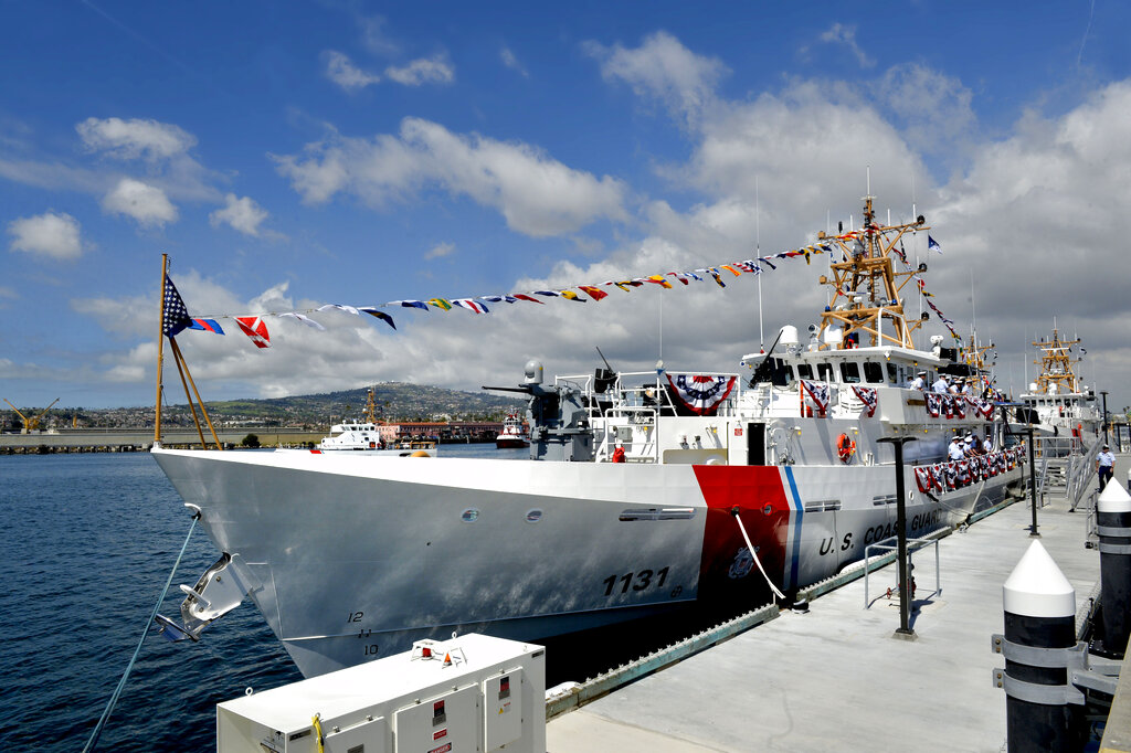 The cutter Terrell Horne (WPC 1131) became the newest Coast Guard cutter on San Pedro, Calif. on Friday. It's named after a Coast Guard hero. (Brittany Murray/The Orange County Register via AP)