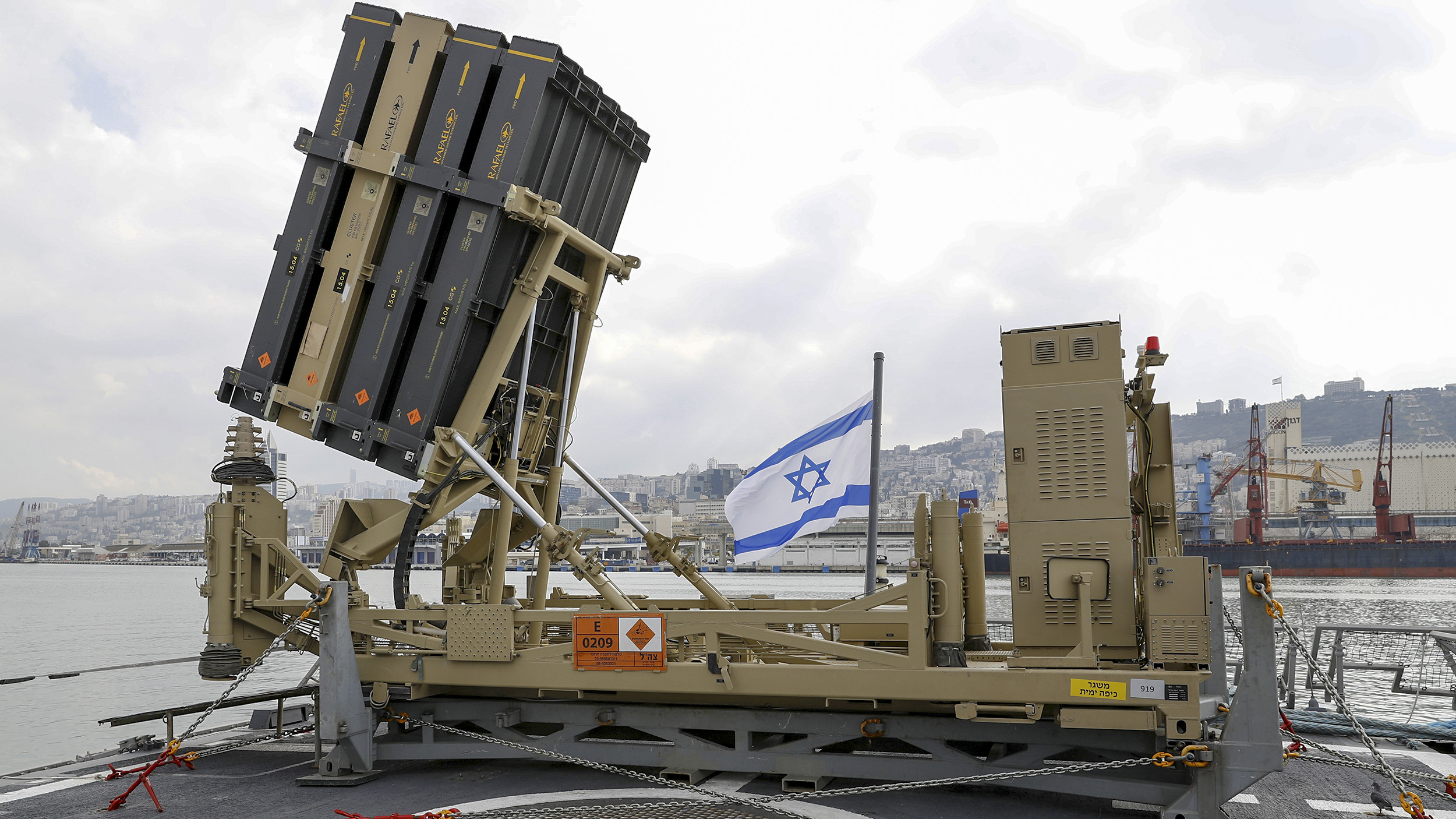 A photo taken on February 12, 2019, shows an Israeli naval Iron Dome defence system, designed to intercept and destroy incoming short-range rockets and artillery shells, installed on a Sa'ar 5 Lahav Class corvette of the Israeli Navy fleet, in the northern port of Haifa. (JACK GUEZ/AFP/Getty Images)
