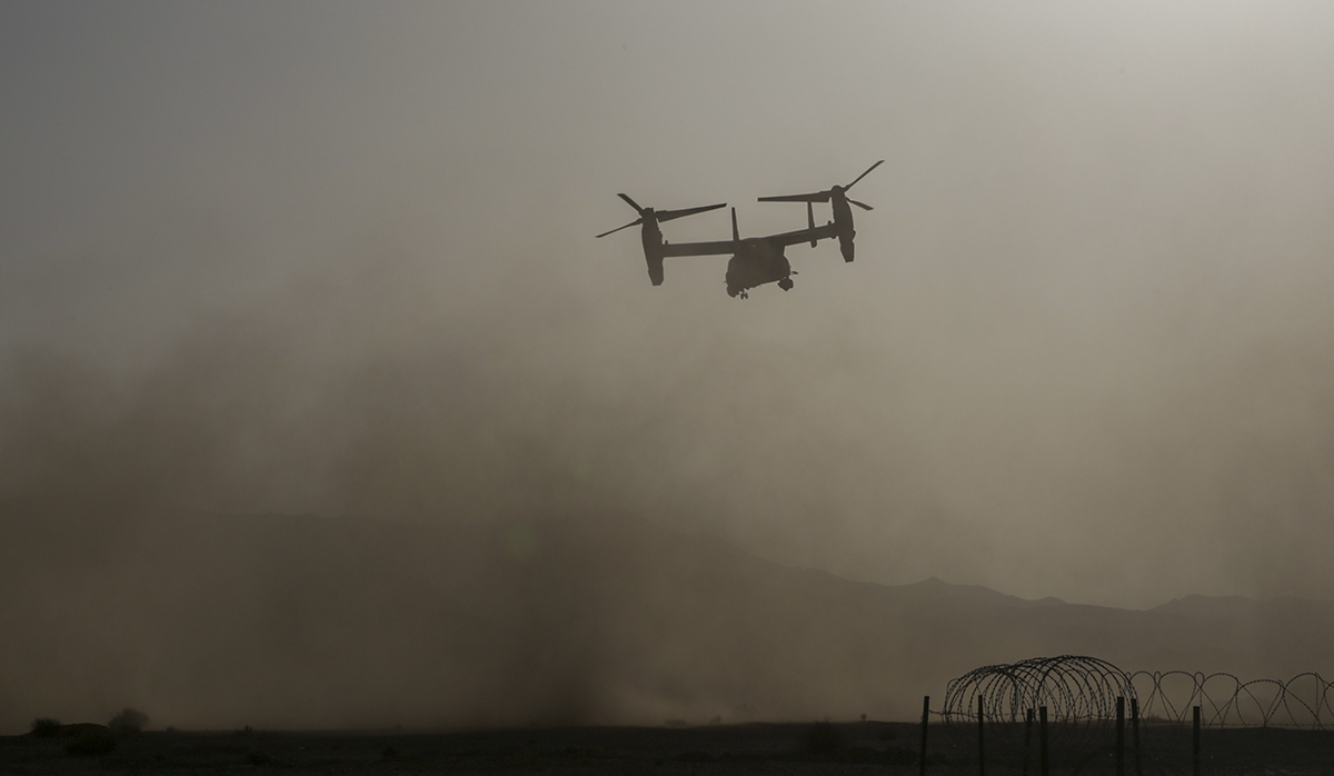 A Marine Corps MV-22B Osprey takes off from the training area in Jordan in support of exercise Eager Lion. (Gunnery Sgt. Eric L. Alabiso II/Marine Corps)
