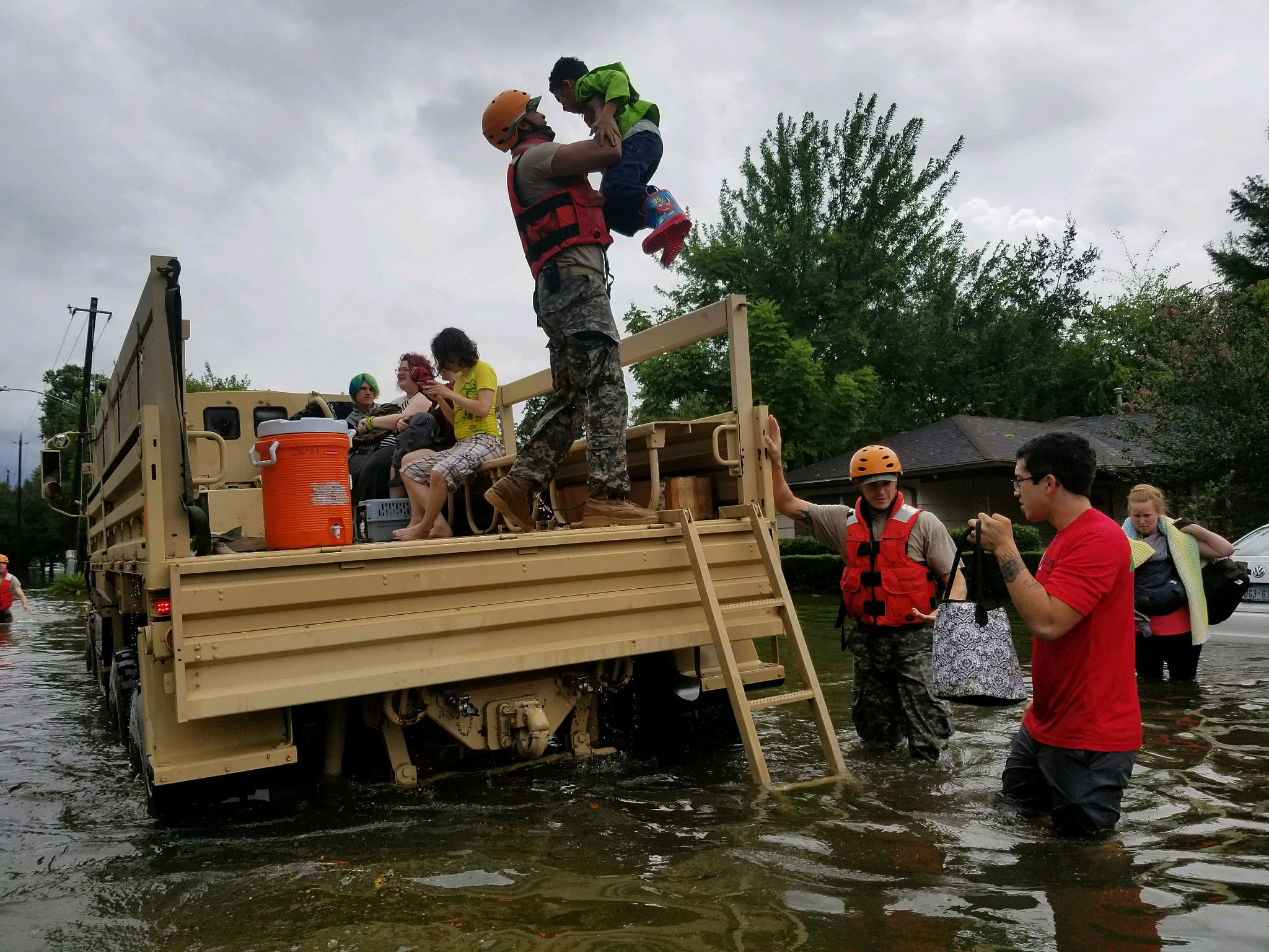 Texas National Guard soldiers arrive in Houston on Aug. 27, 2017, to aid citizens in heavily flooded areas from the storms of Hurricane Harvey. (Lt. Zachary West/100th MPAD)