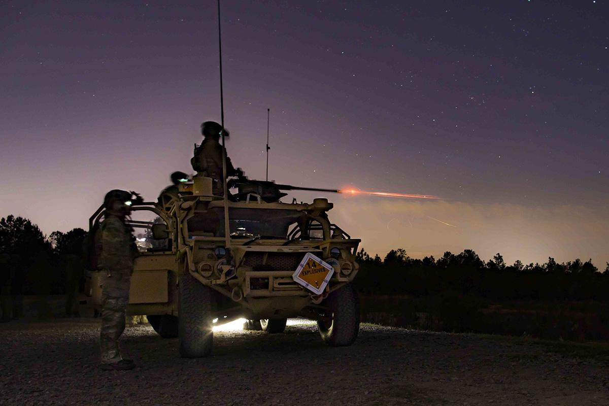 Green Berets assigned to 3rd Special Forces Group (Airborne) fire the M2 .50 caliber machine gun on April 2, 2019, at Fort Bragg, N.C. (Sgt. Steven Lewis/Army)