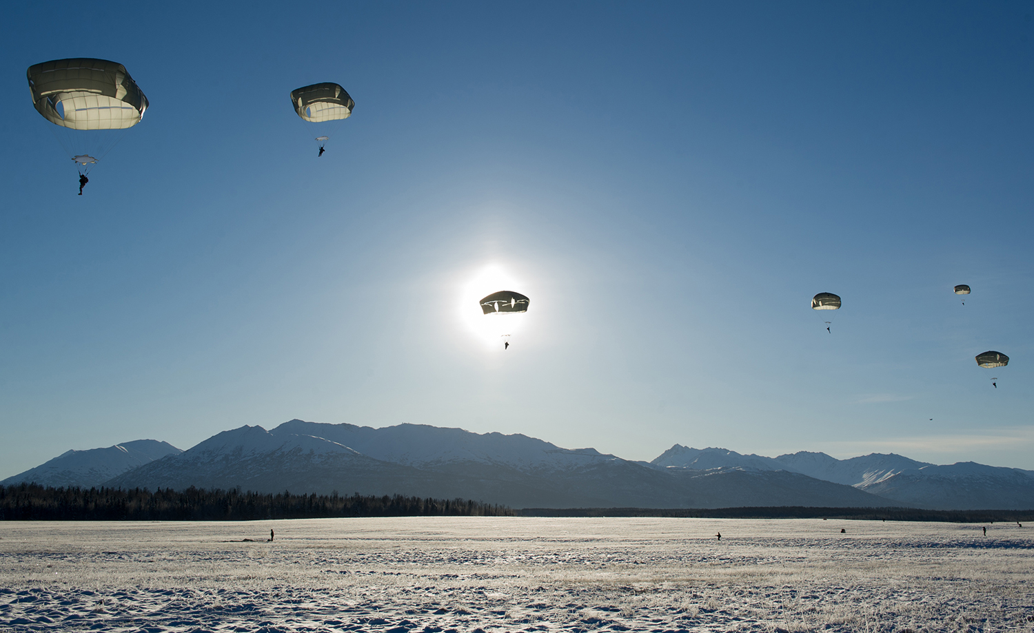Paratroopers assigned to the 4th Infantry Brigade Combat Team (Airborne), 25th Infantry Division, U.S. Army Alaska, conduct an airborne operation on Malemute drop zone after jumping from CH-47 Chinook helicopters at Joint Base Elmendorf-Richardson, Alaska, Nov. 1, 2018. (Justin Connaher/Air Force)