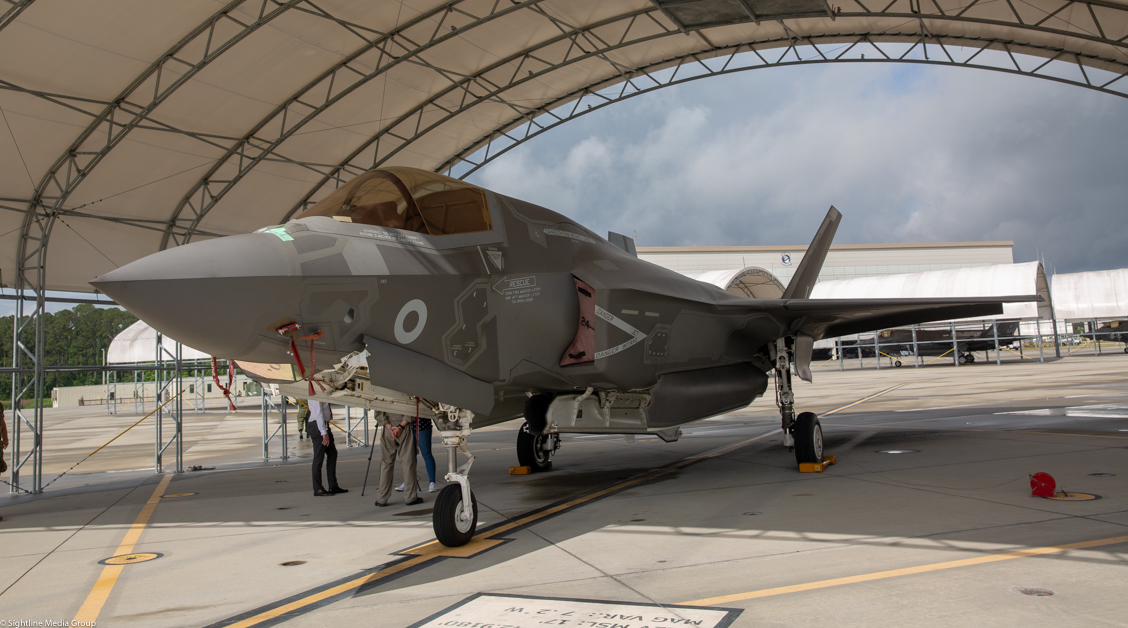 An RAF F-35B sits in a shelter at MCAS Beaufort, SC. (Jeff Martin/Staff)