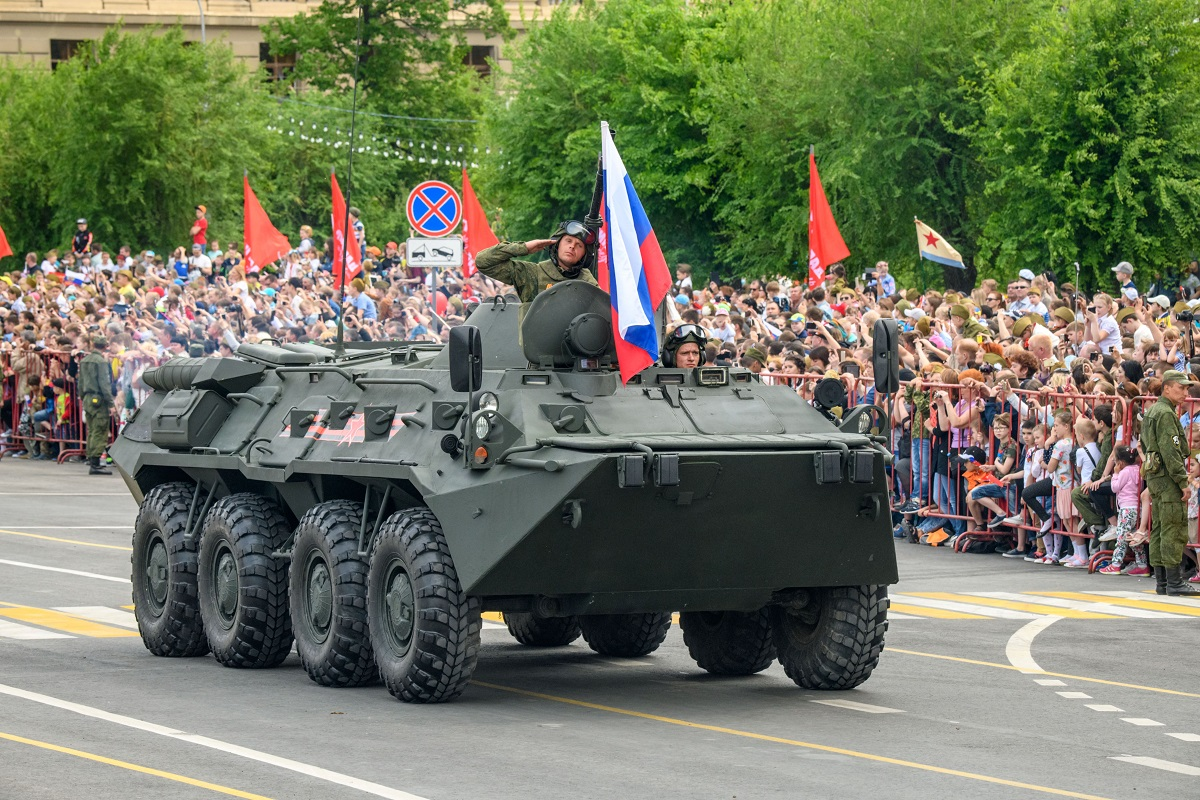Russian military hardware takes part in the Victory Day parade in Volgograd on May 9, 2018. (Mladen Antonov/AFP via Getty Images)