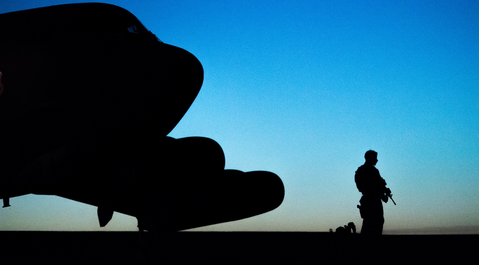 Airman Mario Diaz, 2nd Security Forces Squadron installation access controller, guards a B-52H Stratofortress during exercise Global Thunder 20 at Barksdale Air Force Base, La., Oct. 22, 2019. (Senior Airman Tessa B. Corrick/Air Force)