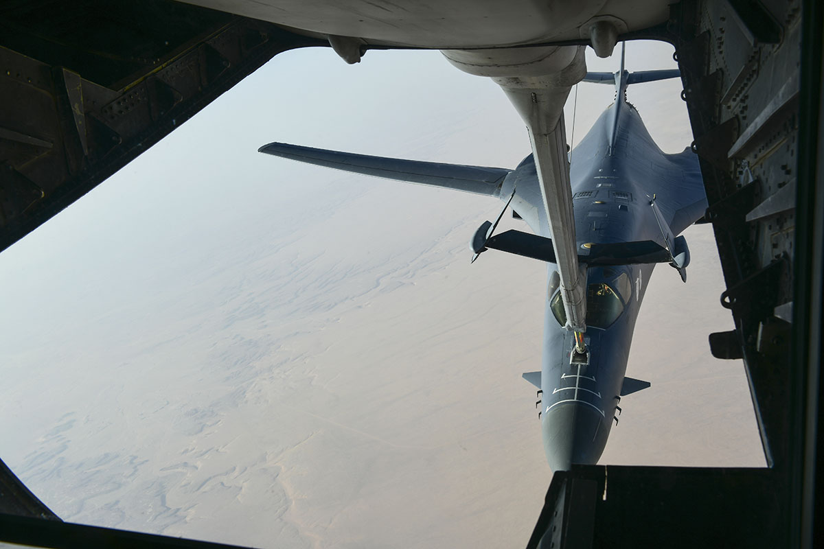 In this image released by the Department of Defense, a U.S. Air Force B-1 Bomber separates from the boom pod after receiving fuel from an Air Force KC-135 Stratotanker on April 13, 2018, en route to strike chemical weapons targets in Syria. President Donald Trump declared
