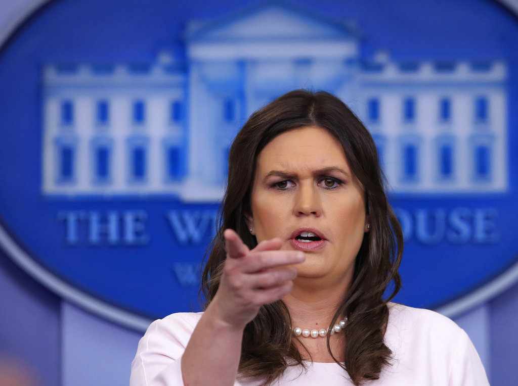 White House press secretary Sarah Huckabee Sanders talks to reporters during the daily press briefing in the Brady press briefing room at the White House, in Washington, Monday, April 23, 2018. (Manuel Balce Ceneta/AP)