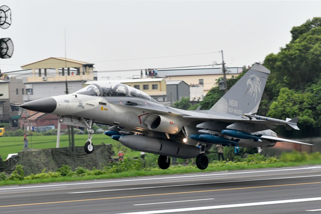 A home-made Indigenous Defense Fighter jet (IDF) takes off from the freeway in Changhua county, central Taiwan, during the 35th Han Kuang military drill on May 28, 2019. (SAM YEH/AFP/Getty Images)