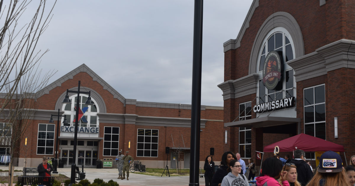 A new commissary at Fort Belvoir, Va., opened in the spring of 2017, next to the post exchange. A new analysis recommends consolidating above-store functions of all the exchange systems, and many of above-store commissary functions, into one entity, but changes wouldn't be visible to customers. (Kevin Robinson/Defense Commissary Agency)