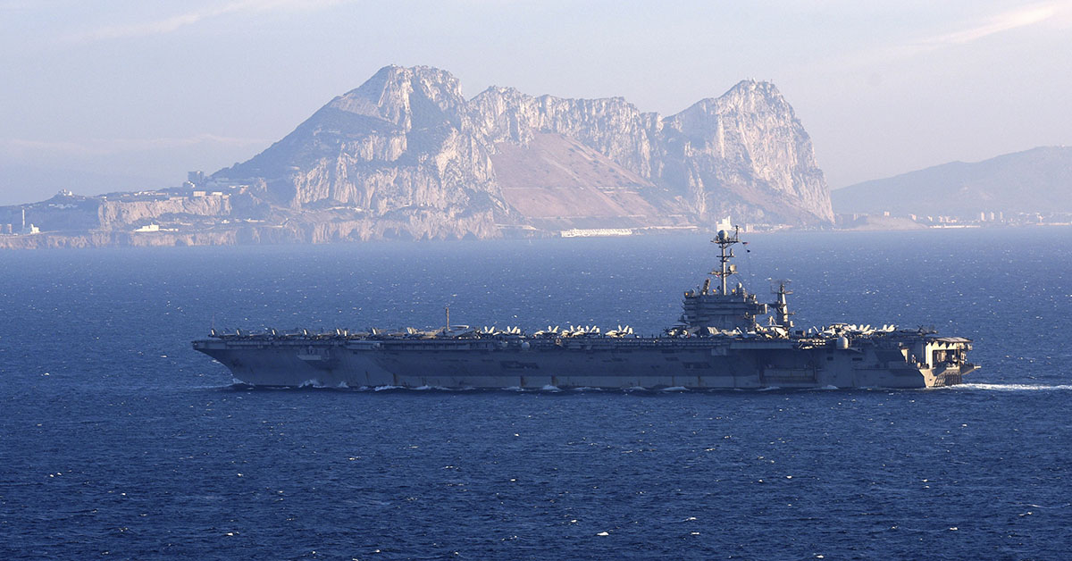 The Nimitz-class aircraft carrier USS Harry S. Truman (CVN 75) conducts a strait transit in the Strait of Gibraltar. Harry S. Truman is currently deployed as part of an ongoing rotation of U.S. forces supporting maritime security operations in international waters around the globe. (U.S. Navy photo by Mass Communication Specialist 2nd Class Thomas Gooley/Released)180628-N-EA818-0085