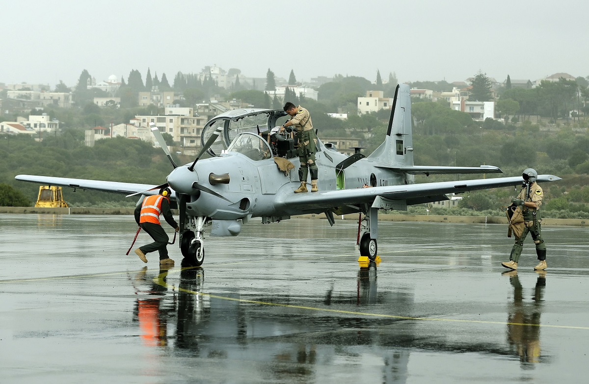 One of two Brazilian-built A-29 Super Tucano planes that were handed by the U.S. government to the Lebanese Army arrives at Hamat, north of Beirut, during a welcome ceremony on Oct. 31, 2017. (Joseph Eid/AFP via Getty Images)